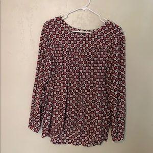 flower patterned long sleeved blouse